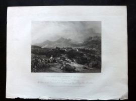 After Bentley 1834 Antique Print. Pont Gwryd, with Snowdon in the distance